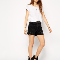 ASOS Denim Girlfriend Shorts in Washed Black