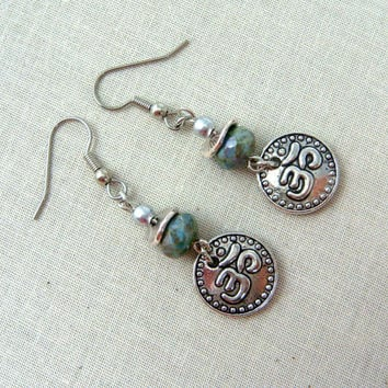 Silver Ohm Earrings - Blue and Silver Earrings - Antiqued Silver Om with Teal Luster Picasso Bead - Casual Earrings for Everyday
