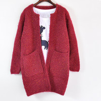 Long Sleeve Colorful Point Big Pockets Knit Cardigan Outerwear