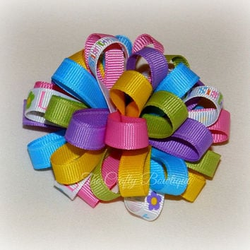 Lil Sister Bow ~ Sister Hair Bow ~ Colorful Loopy Bow ~ Colorful Sister Bow ~ Small Loopy Bow ~ Loopy Headband Bow ~ Little Sister Bow ~Pink