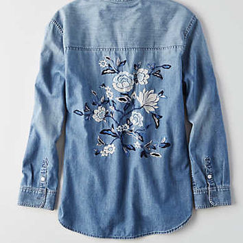 AEO Embroidered Denim Shirt , Medium Wash