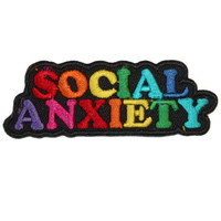 Social Anxiety Iron On Patch Embroidery Sewing DIY Customise Denim Cotton Rainbow