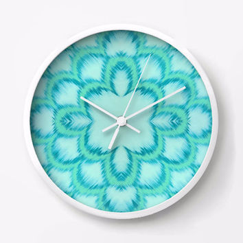 Ikat Style Wall Clock in Ice blue with mint and turquoise scallops