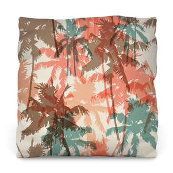 Summer Palm Trees Throw Pillow