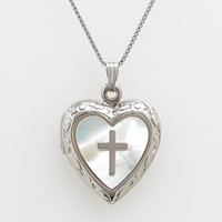 Sterling Silver Mother-of-Pearl Cross Heart Locket (White)