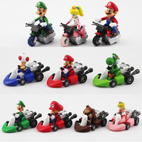 "1Set Cute Super Mario Bros Kart Pull Back Car PVC Action Figure Toys 2"" 10pcs/set Alternative Measures"