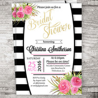 Inspired Black and White Stripe Bridal Shower Invitation, Black and white bridal shower invitation Watercolor Floral digital download
