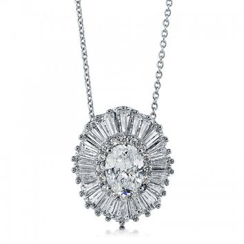 OVAL CUT CZ 925 STERLING SILVER HALO MEDALLION PENDANT NECKLACE