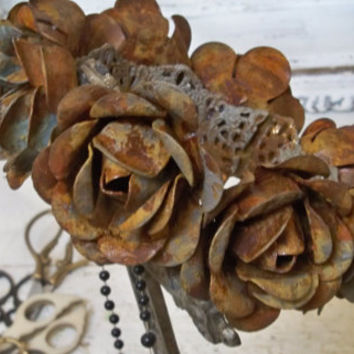 Large statue crown gray rusty metal roses French inspired handmade home decor piece anita spero