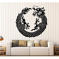 Vinyl Wall Decal Asian Chinese Dragon Circle Fantasy Japanese Stickers Unique Gift (1279ig)