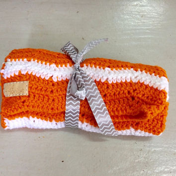 Blanket, Chevron, Orange and White Blanket, Tennessee, Baby, Crochet Blanket, Newborn, Pink, Layering Blanket, Mini Blanket, Wrap, Baby Wrap