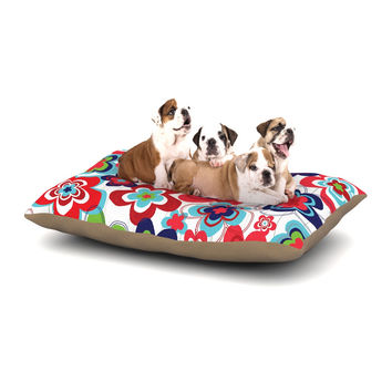 "Jolene Heckman ""A Cheerful Morning"" Blue Red Dog Bed"