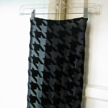 Sophisticated Vintage Sheer Black Scarf with Black Velveteen Geometric Inserts - Long Black Scarf - Mysterious Lady Scarf - Black Head Scarf