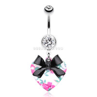 Vintage Floral Heart Bow-Tie Belly Button Ring (Clear)