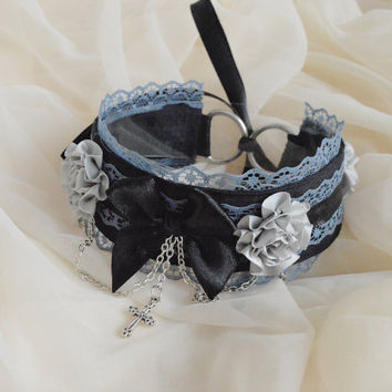 Graveyard rose - black and grey victorian gothic choker  with cross flowers chain and bow - lolita kitten pet play collar neko girl