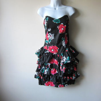 80s Black and Red Floral Mini Skirt Ruffle Strapless Party Dress
