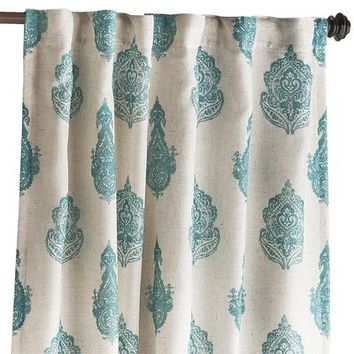 Rambagh Paisley Curtain - Teal