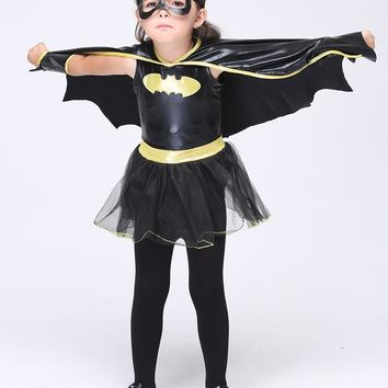 Superhero Batman Halloween Girls Cosplay Costumes Batgirl Fantasia Vestido Fancy Tutu Dress Kids Disguise Carnival Party Cloak