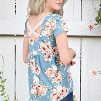 Cross my Back Floral Top {Chambray}