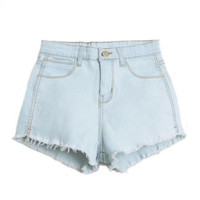 Women's Slim Fit Comfortable High Waisted Light Blue Denim Jeans Shorts