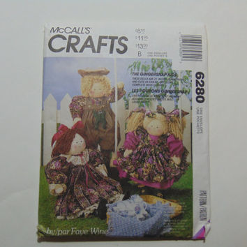 "McCall's Craft 6280 The Gingersnap Kids 21"" Country Boy and Girl & Victorian Girl Rag Dolls with Clothes"