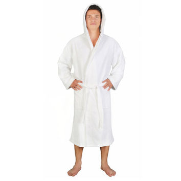 Men's 100% Turkish Cotton Detailed Hooded Classic Bathrobe for Home or Hotel Use