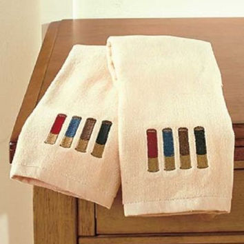 Hand Towel Set Shotgun Shell Bathroom Accessories Rustic Country Lodge Cabin