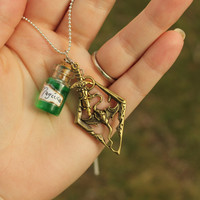 Stamina Potion Inspired by Skyrim Necklace with a Dragon and Dagger Charm