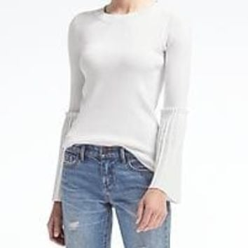 Fluted Pleat-Sleeve Sweater Top | Banana Republic