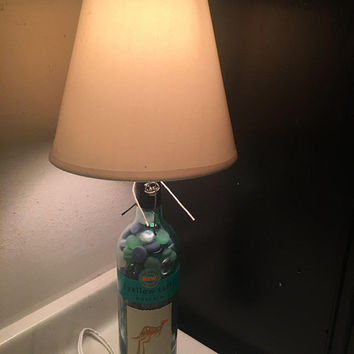 Recycled Wine Bottle Table Lamp / Yellow Tail Moscato Wine Lamp