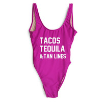 TACOS TEQUILA & TAN LINES SWIMSUIT Bodysuit Women Sexy Swimwear Swim Suits One Piece