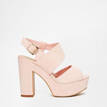 New Look Wide Fit Tipsy Pink Platform Heeled Sandals
