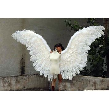 Luxury Ostrich White Feather Angel Wings Stage Wedding Cosplay