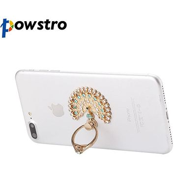 Universal Luxury Peacock Diamond Finger Ring Phone Holder Mount