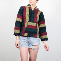Vintage 90s Poncho Red Green Yellow Blue Striped Grunge Jacket Baja Poncho Surfer Hoodie 1990s Hippie Pullover Drug Rug XS Extra Small