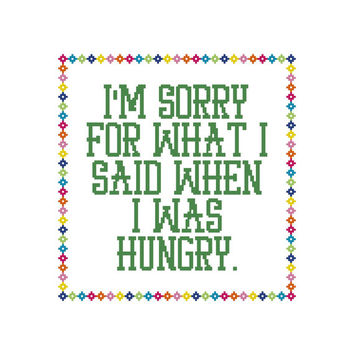 Funny Cross Stitch Hungry Counted Cross Stitch Chart Instant Download PDF by Cowbell Cross Stitch Funny Subversive Cross Stitch Pattern