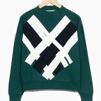 & Other Stories | Weave-Detail Sweater | Dark Green