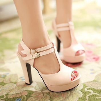 Fashion Online Cross Strap Platform Sandals Women Pumps High Heels Shoes Woman
