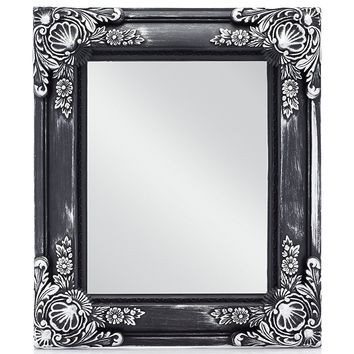 "MONOINSIDE Small Framed Decorative Rectangle Wall Mount Mirror, Vintage Style, Black Plastic Frame with Antique Silver Floral Pattern, 13"" x 11"" Inches"
