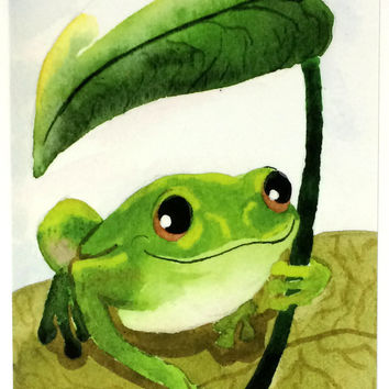 Pack of 10 Cute Cheer Up Frog Postcards, Ten Tree Frog With Leaf Umbrella Artists Card, Happy Watercolor Frog Artist Postcard Pack