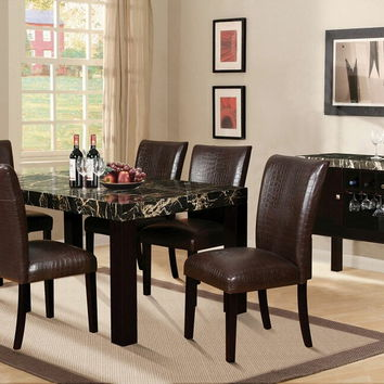 Acme 70115 7 pc adolph collection espresso finish wood black faux marble top dining table set with bycast vinyl upholstered chairs
