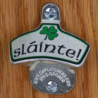 "Wall Mount Bottle Opener - Irish Shamrock, ""Slainte"" - Bottle Cap Catcher - Irish Beer Gift"