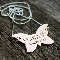 Inspirational Necklace Hand Stamped- From Caterpillar To Butterfly