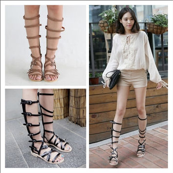Genuine Leather Gladiator Open The Toe Flats Womens Knee High Sandals 2017 New Arrival Cut Out Tall Sandals Boots 35-39 SXQ0606
