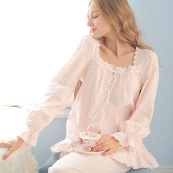 Vintage Pajamas Female Royal Pyjama Sets Long-Sleeve 100% Cotton Princess Sleepwear Lace Square Collar Lounge Set