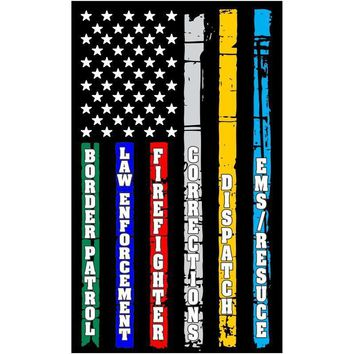 Thin Blue Line Red Line Fire, Police, Military, Dispatch Corrections Flag DECAL