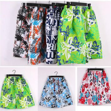 Loose Pants Flat Men's Beach Surf Board Shorts Printed Summer Random
