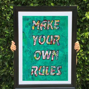 Make your own rules poster print collage wall art