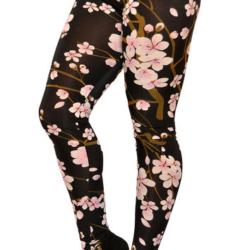BadAssLeggings Women's Cherry Blossom Leggings Medium Black