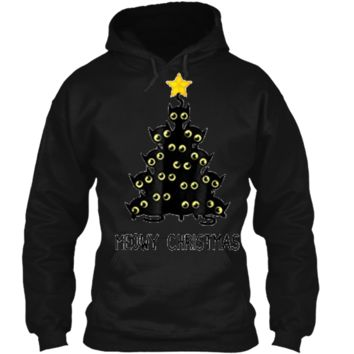 Cat Christmas Tree  Cute Black Kitten Lover Meowy Gift Pullover Hoodie 8 oz